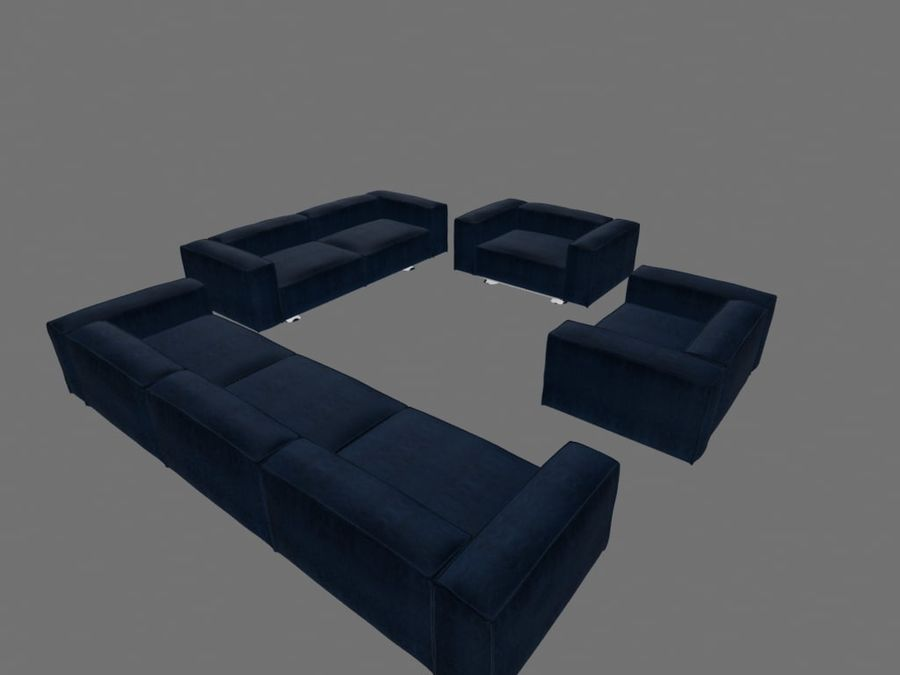 Dark Blue Furniture Sets royalty-free 3d model - Preview no. 4