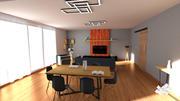 リビングルーム-ブラック&ウッド 3d model