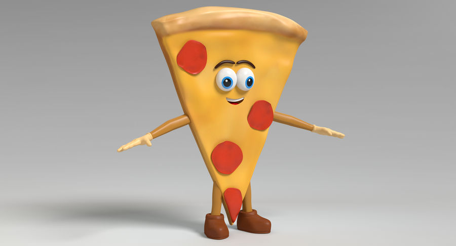 Pizza Character royalty-free 3d model - Preview no. 3