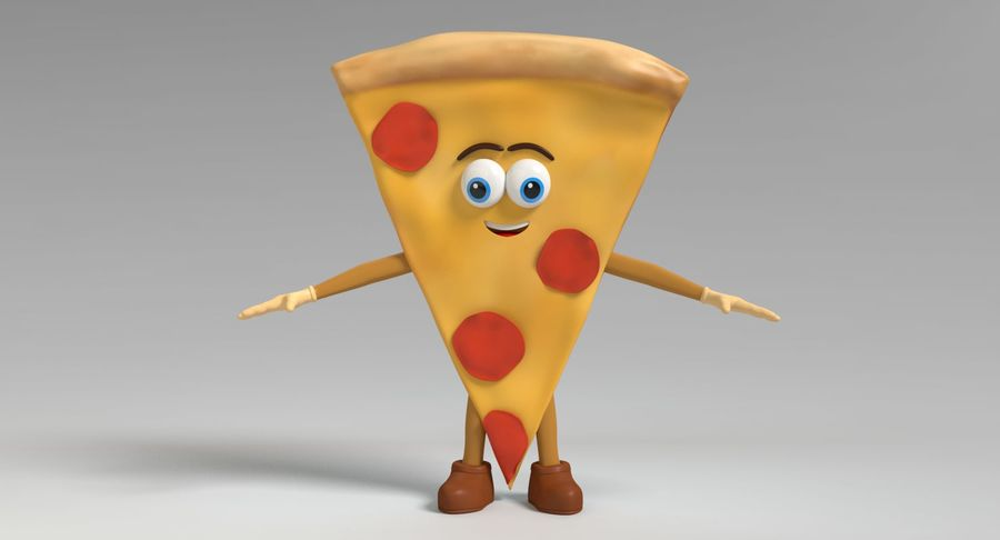 Pizza Character royalty-free 3d model - Preview no. 9