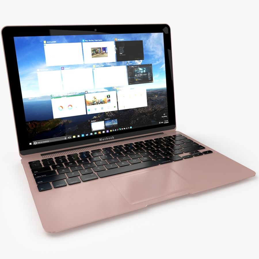 Apple Macbook 2015 royalty-free 3d model - Preview no. 4