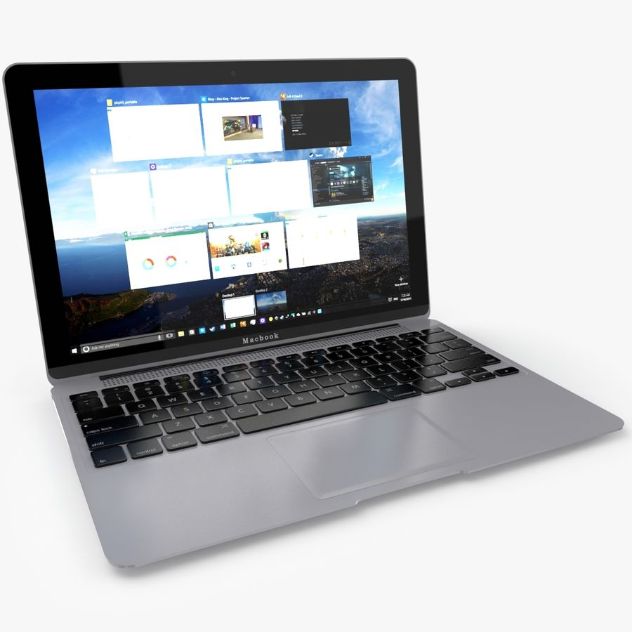 Apple Macbook 2015 royalty-free 3d model - Preview no. 3
