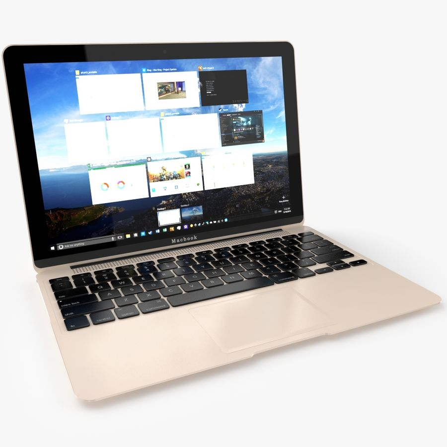 Apple Macbook 2015 royalty-free 3d model - Preview no. 2