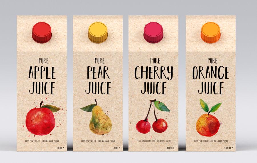 Scatole di succo di frutta royalty-free 3d model - Preview no. 2