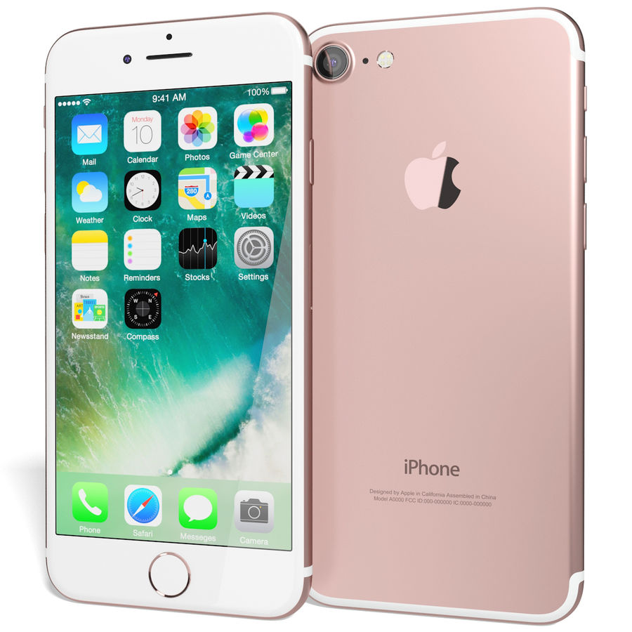 Apple iPhone 7 Gül Altın royalty-free 3d model - Preview no. 4