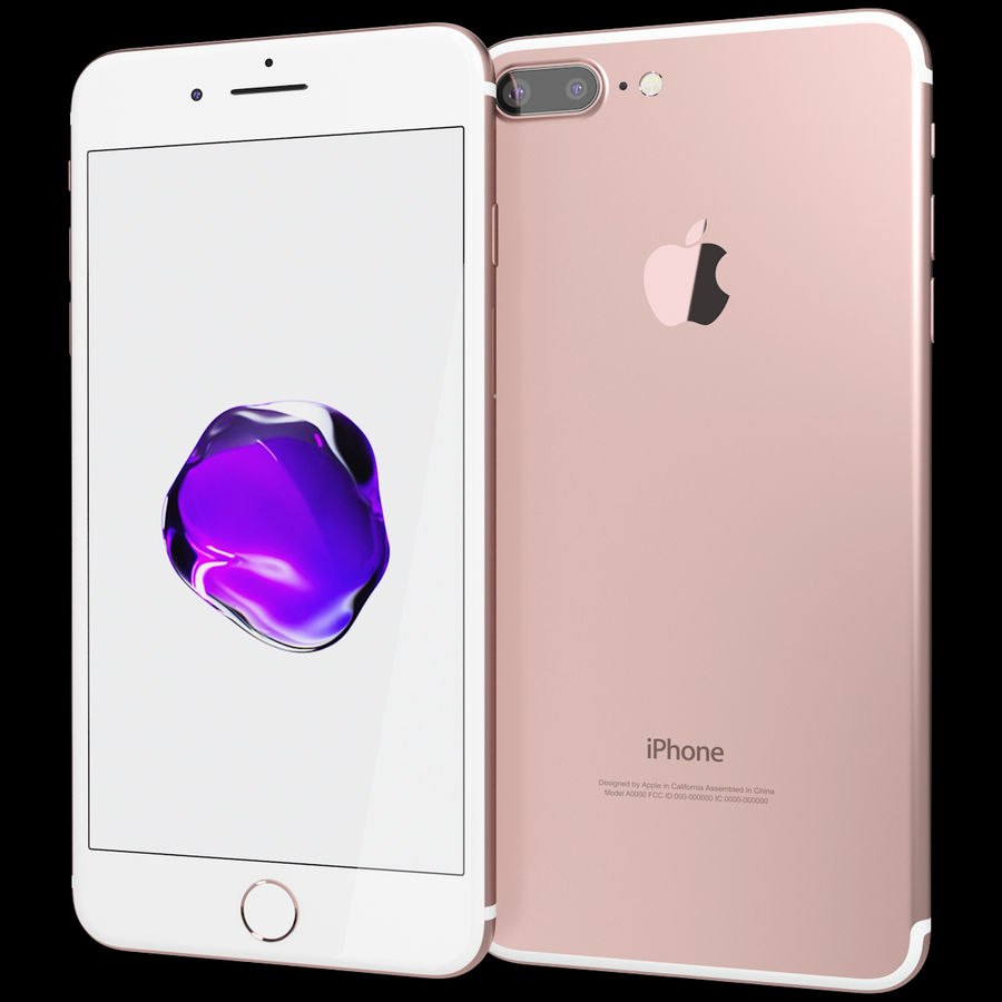Apple iPhone 7 Artı Gül Altın royalty-free 3d model - Preview no. 2