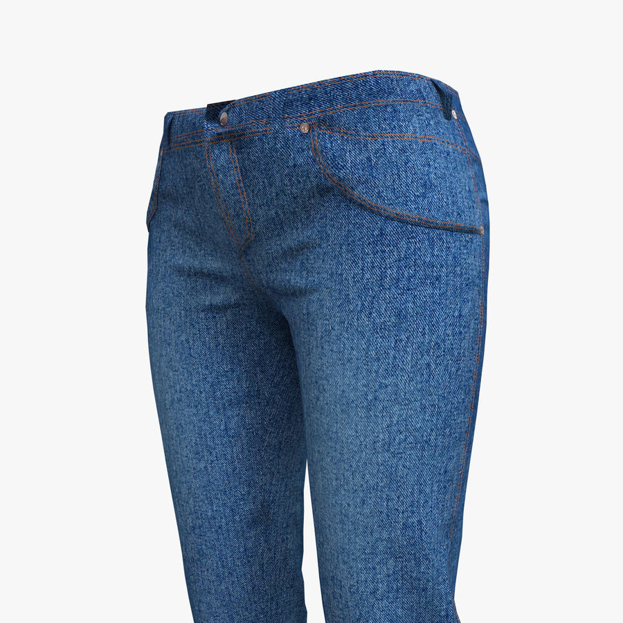 Jeans Mujer Azul royalty-free modelo 3d - Preview no. 1
