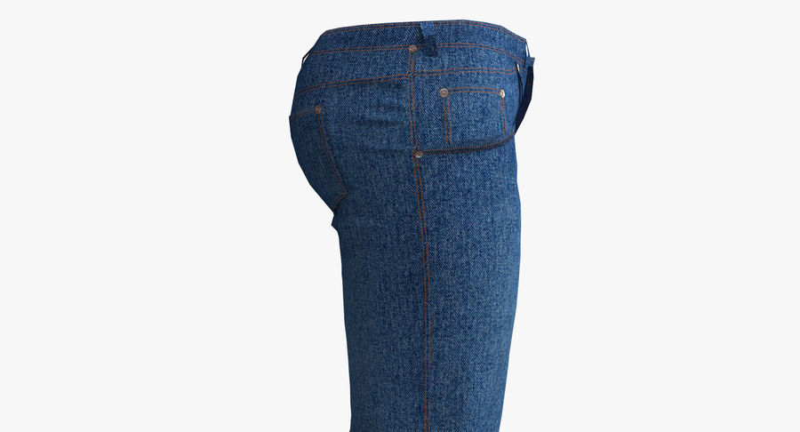 Jeans Mujer Azul royalty-free modelo 3d - Preview no. 7