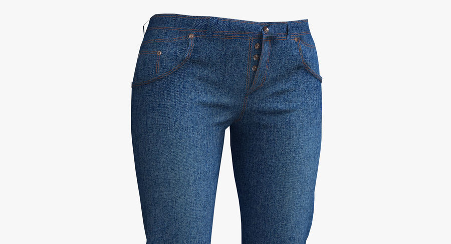 Jeans Mujer Azul royalty-free modelo 3d - Preview no. 4