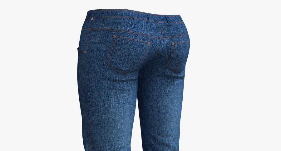Jeans Mujer Azul royalty-free modelo 3d - Preview no. 9