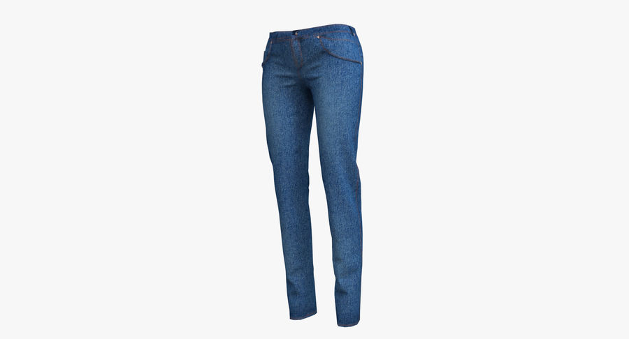 Jeans Mujer Azul royalty-free modelo 3d - Preview no. 5