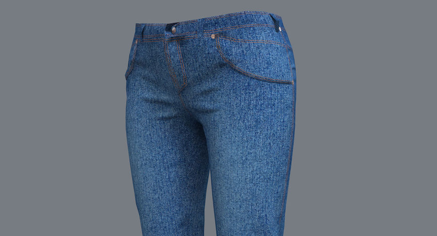 Jeans Mujer Azul royalty-free modelo 3d - Preview no. 3