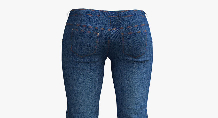 Jeans Mujer Azul royalty-free modelo 3d - Preview no. 6