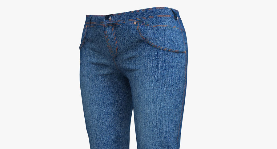 Jeans Mujer Azul royalty-free modelo 3d - Preview no. 2