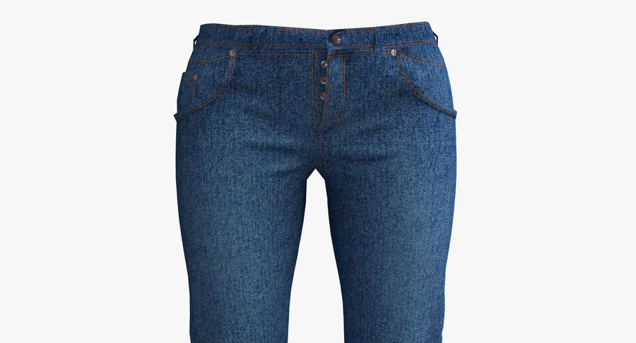 Jeans Mujer Azul royalty-free modelo 3d - Preview no. 11