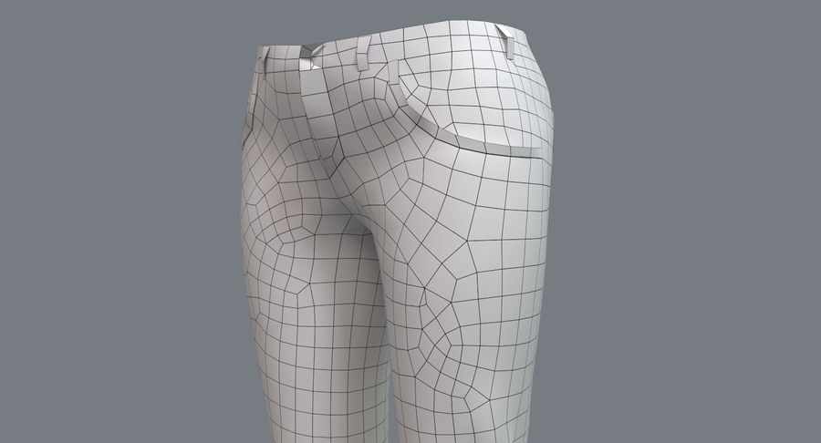 Jeans Mujer Azul royalty-free modelo 3d - Preview no. 24