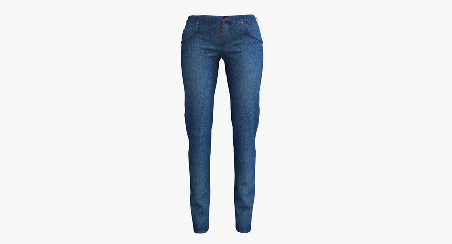 Jeans Mujer Azul royalty-free modelo 3d - Preview no. 12