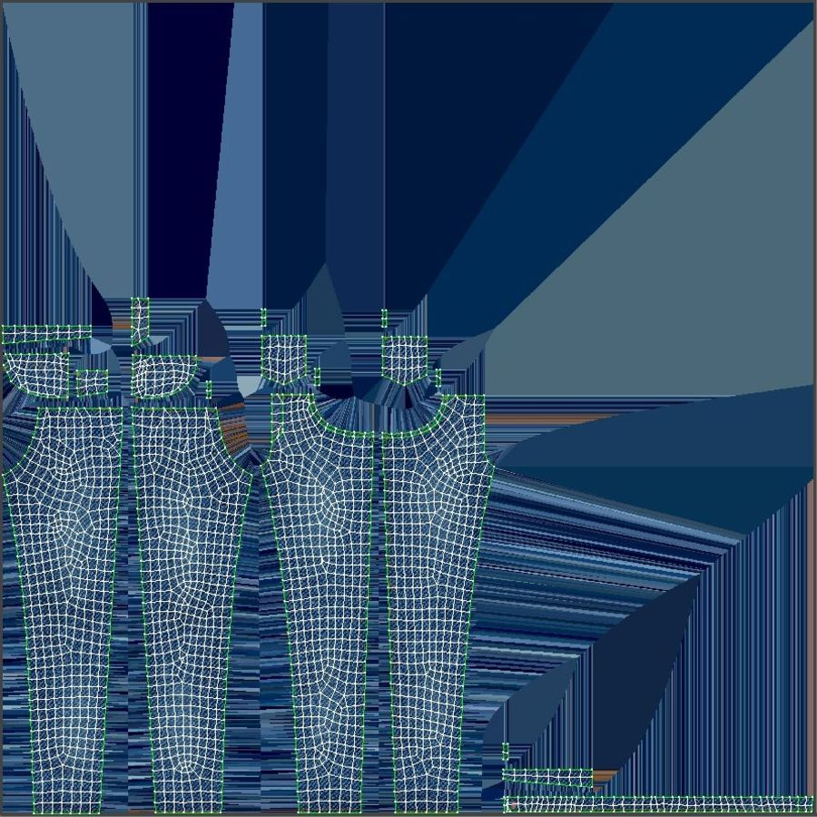 Jeans Mujer Azul royalty-free modelo 3d - Preview no. 29