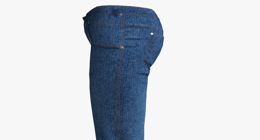 Jeans Mujer Azul royalty-free modelo 3d - Preview no. 8