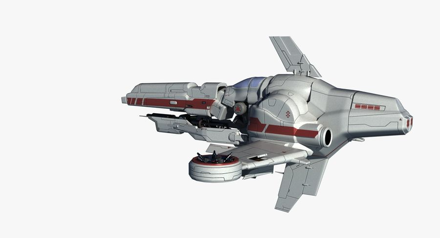 Space Ship Defender royalty-free 3d model - Preview no. 8
