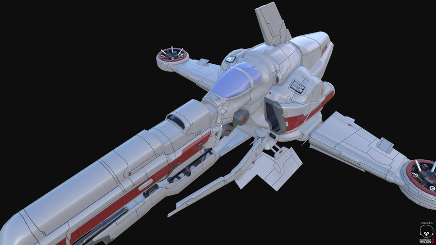 Space Ship Defender royalty-free 3d model - Preview no. 33