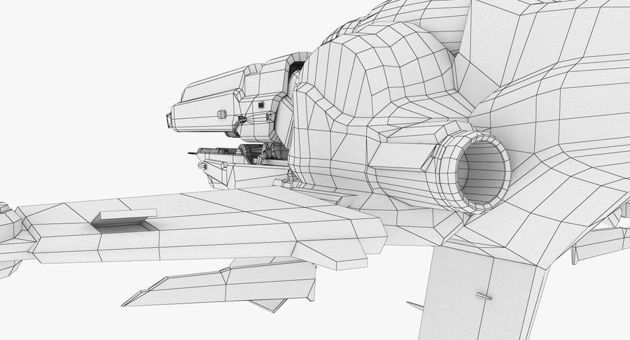 Space Ship Defender royalty-free 3d model - Preview no. 29