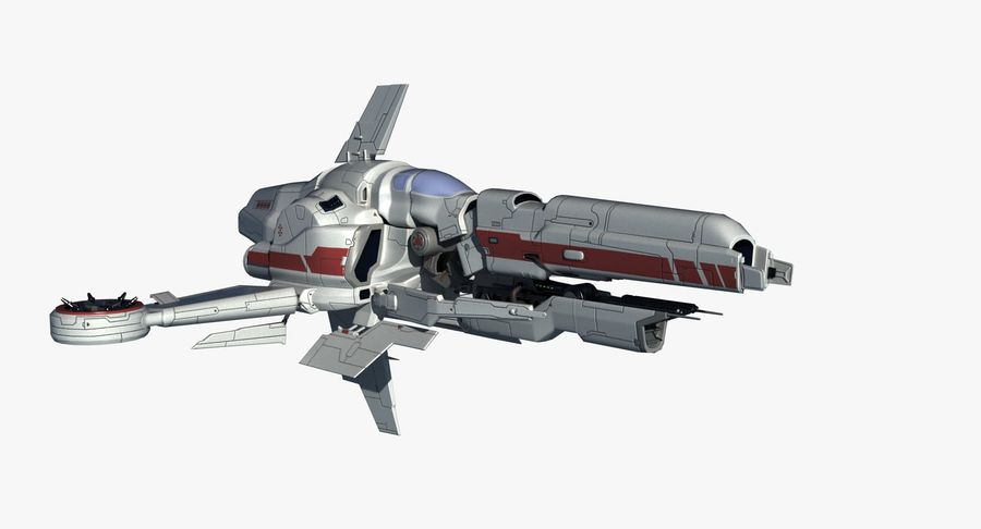 Space Ship Defender royalty-free 3d model - Preview no. 5
