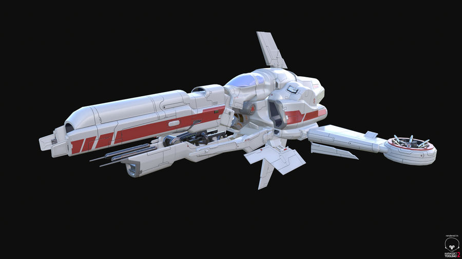 Space Ship Defender royalty-free 3d model - Preview no. 31