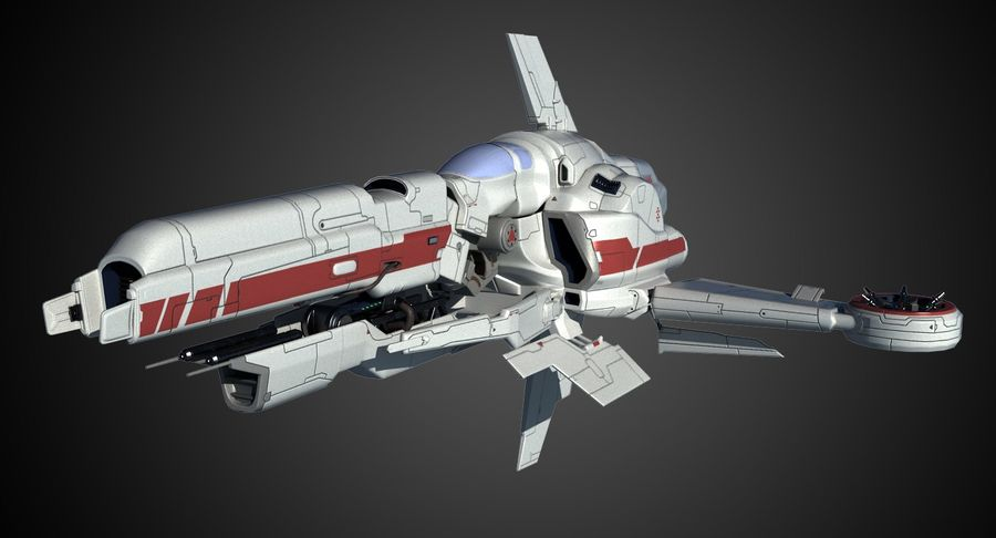 Space Ship Defender royalty-free 3d model - Preview no. 3