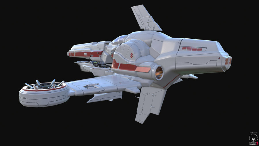 Space Ship Defender royalty-free 3d model - Preview no. 35