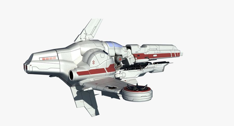 Space Ship Defender royalty-free 3d model - Preview no. 6