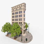 casa de la ciudad de la esquina modelo 3d