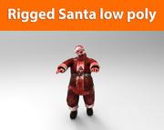 좀비 산타 리깅 낮은 폴리 게임 준비 3d model