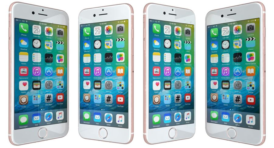Apple iPhone 7 Gül Altın royalty-free 3d model - Preview no. 6
