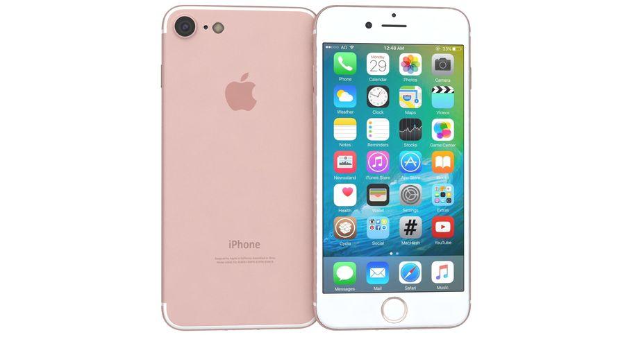 Apple iPhone 7 Gül Altın royalty-free 3d model - Preview no. 9