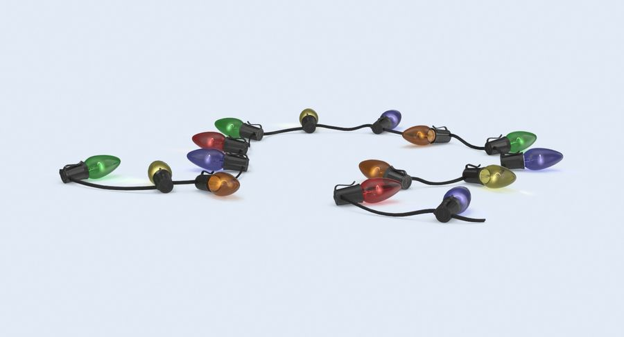 Large Bulb String Lights royalty-free 3d model - Preview no. 4