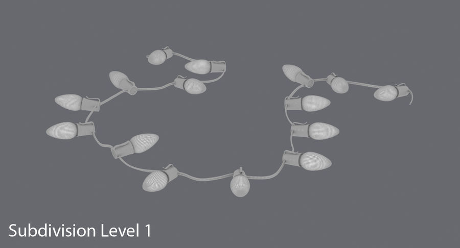 Large Bulb String Lights royalty-free 3d model - Preview no. 12