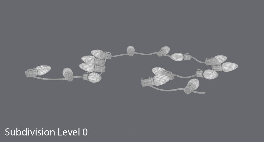 Large Bulb String Lights royalty-free 3d model - Preview no. 15