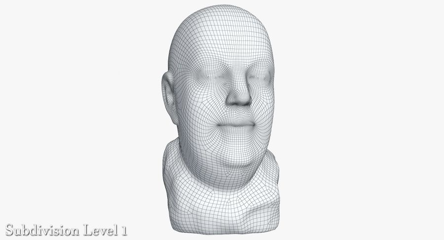 Skinny Head Bust royalty-free 3d model - Preview no. 15