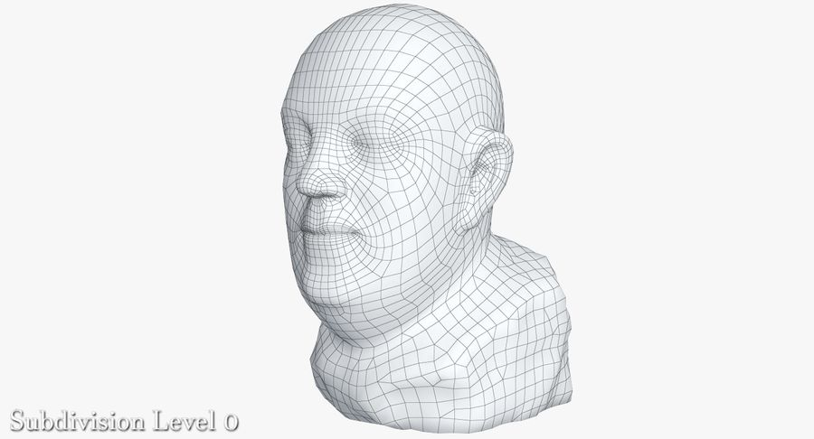 Skinny Head Bust royalty-free 3d model - Preview no. 18