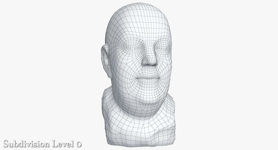 Skinny Head Bust royalty-free 3d model - Preview no. 14