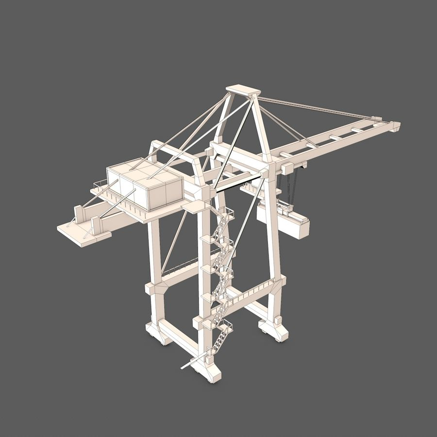 Port Container Crane royalty-free 3d model - Preview no. 8