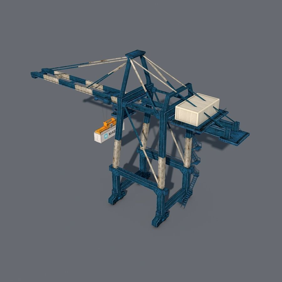 Port Container Crane royalty-free 3d model - Preview no. 4
