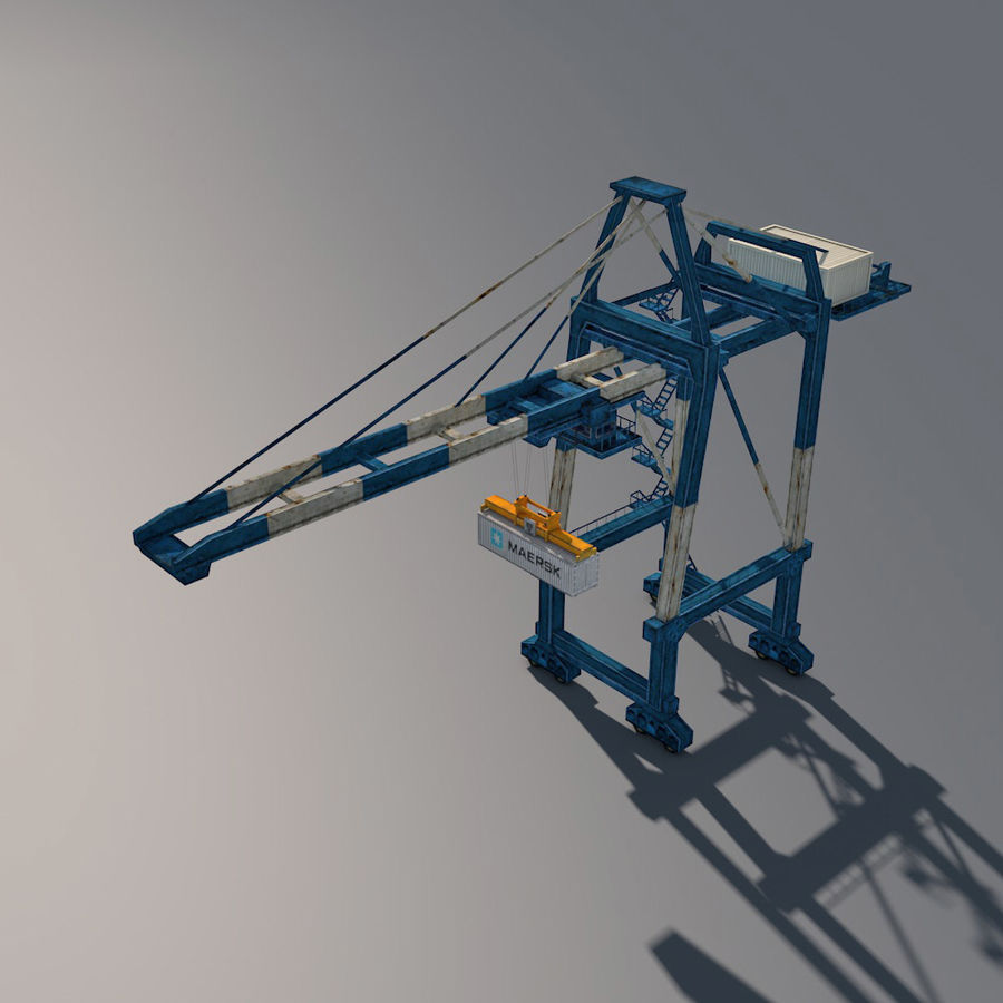 Port Container Crane royalty-free 3d model - Preview no. 2