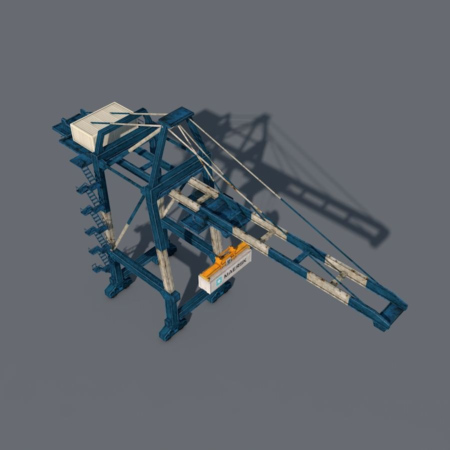 Port Container Crane royalty-free 3d model - Preview no. 5