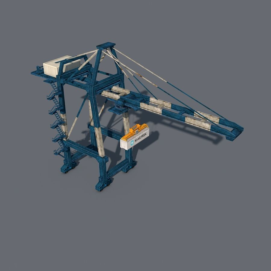 Port Container Crane royalty-free 3d model - Preview no. 3