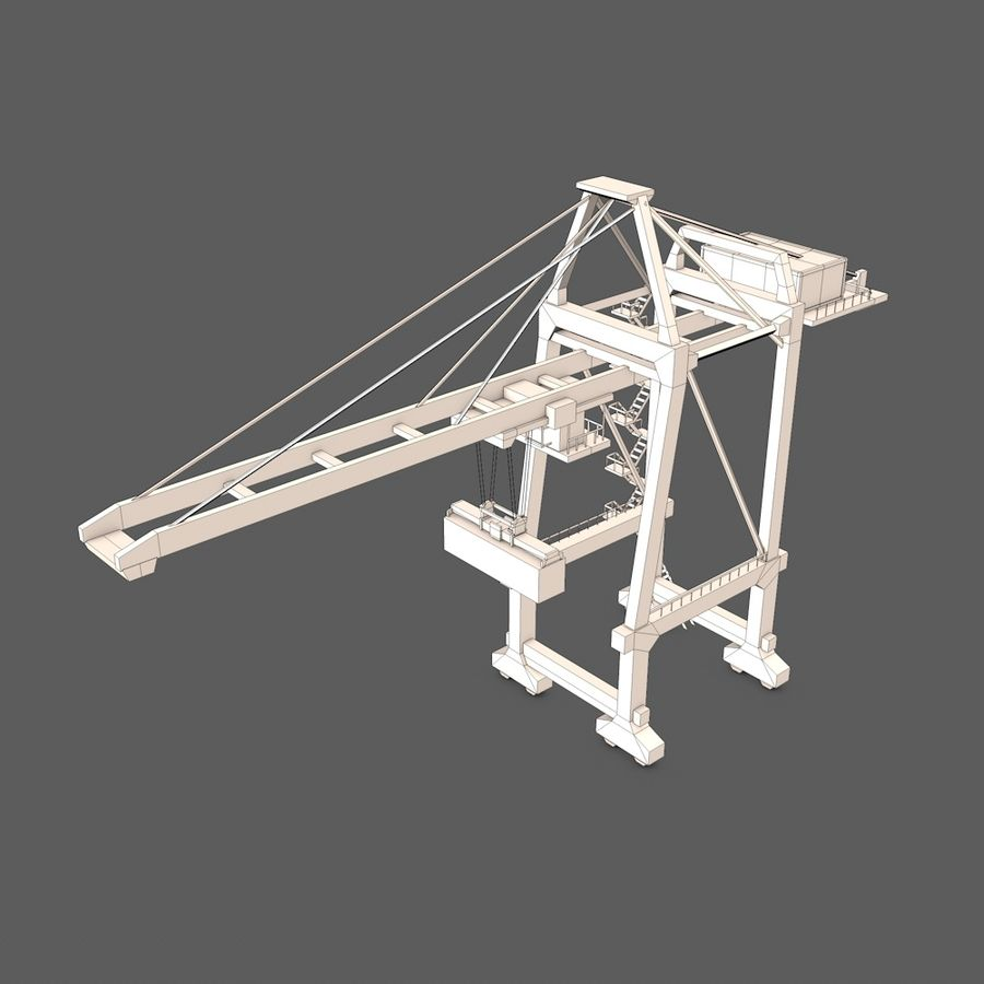 Port Container Crane royalty-free 3d model - Preview no. 7