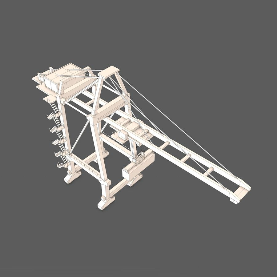 Port Container Crane royalty-free 3d model - Preview no. 6