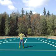 Animation de 2 hommes jouant au tennis en boucle 3d model
