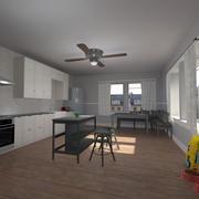 公寓厨房 3d model